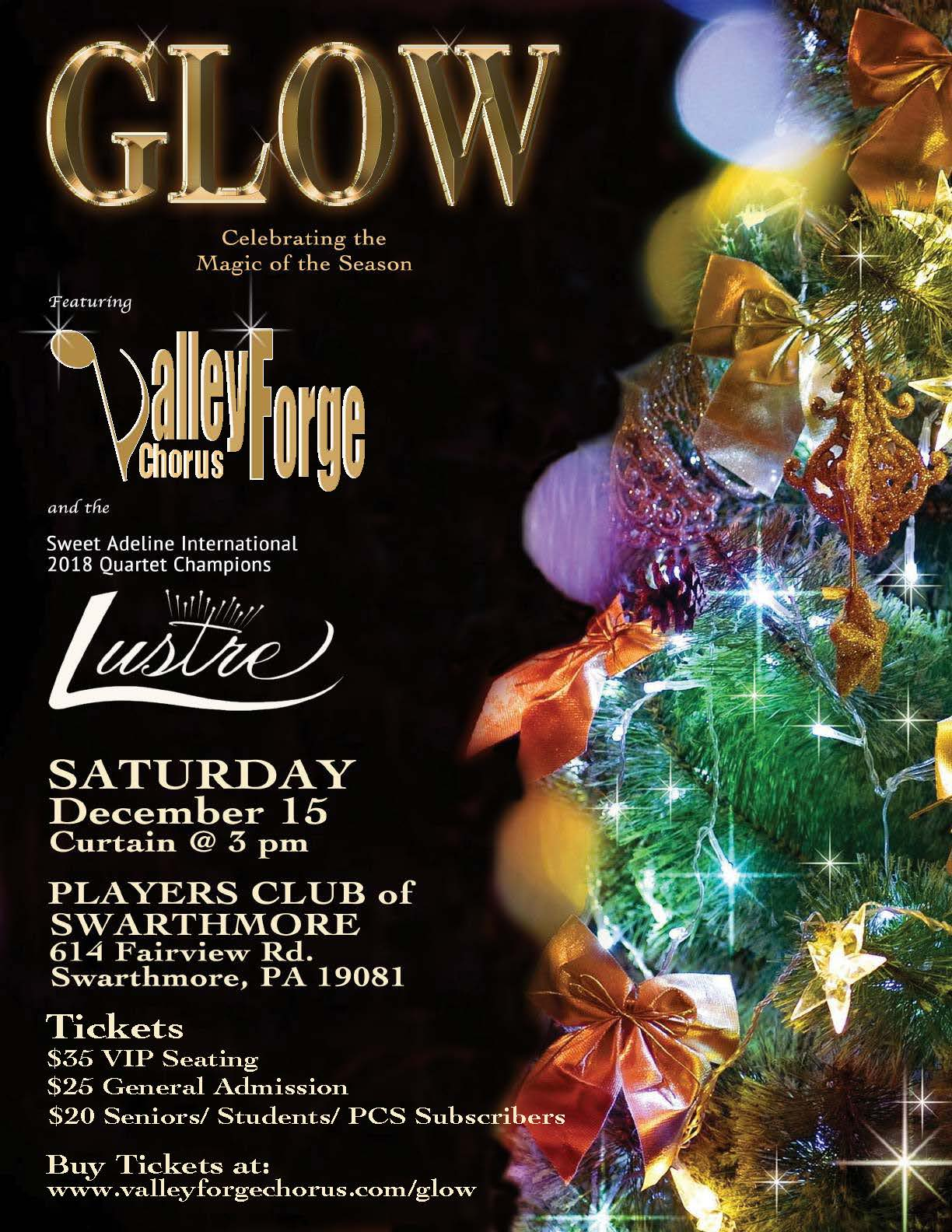 "2018 VFC Christmas Show ""Glow"" Spotlighting 2018 Queens of Harmony, LUSTRE Quartet"